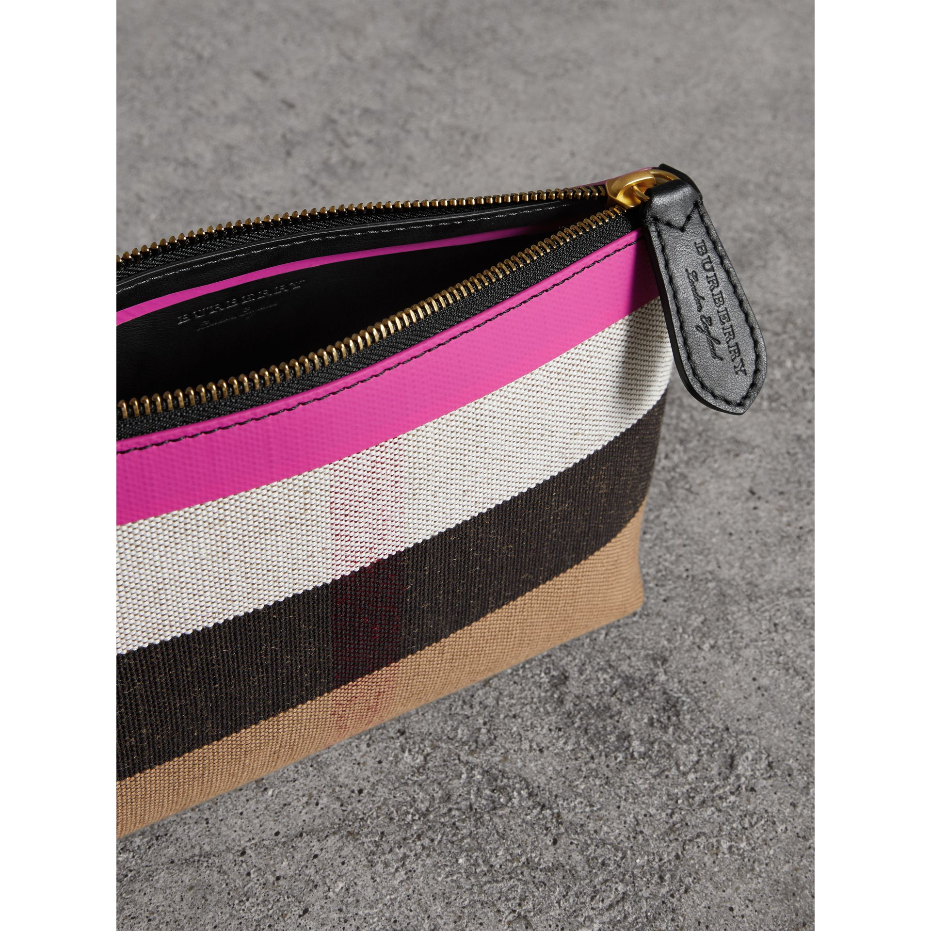 Medium Check Canvas and Leather Zip Pouch in Black/neon Pink - Women | Burberry - gallery image 5