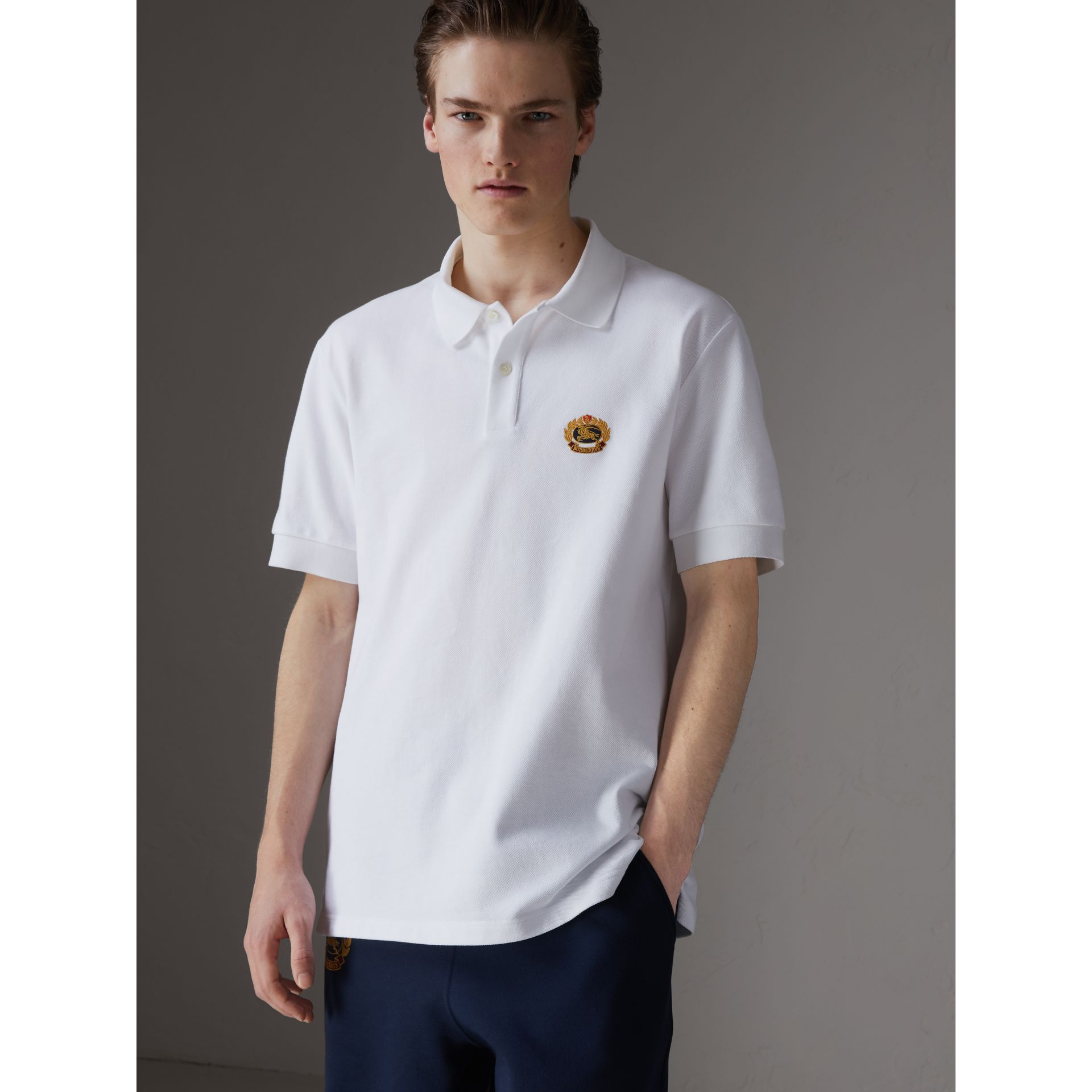 Reissued Cotton Polo Shirt in White - Men | Burberry Singapore - gallery image 5