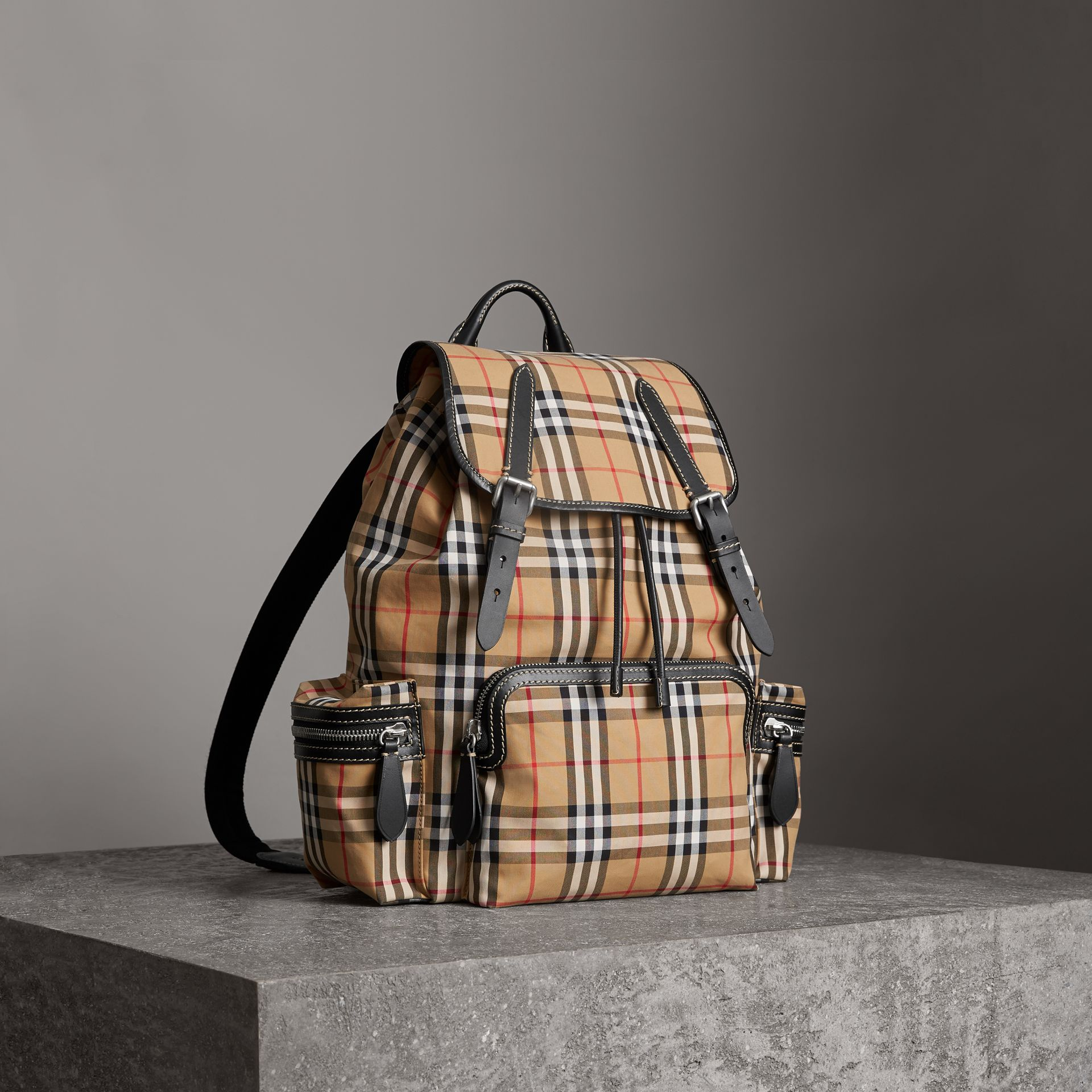The Large Rucksack in Vintage Check in Antique Yellow - Men | Burberry Singapore - gallery image 0