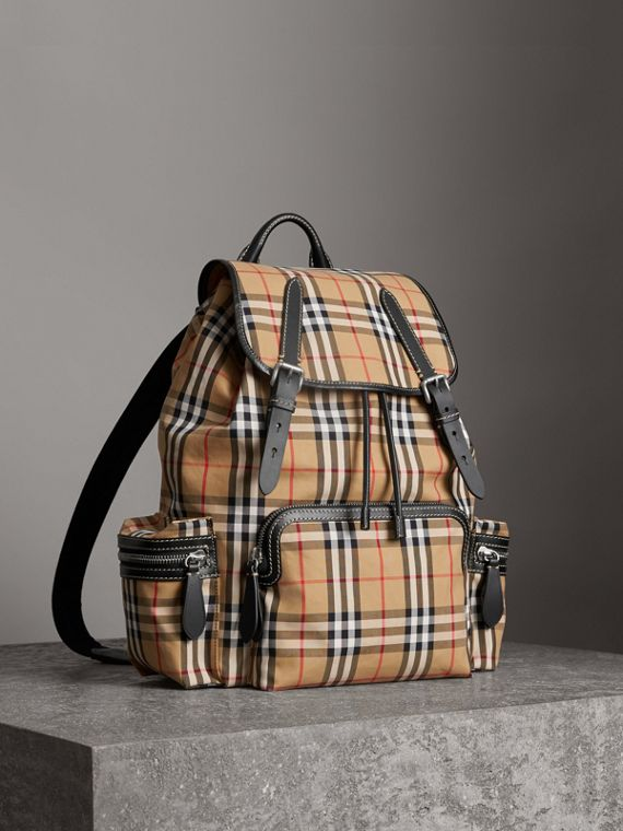 Grand sac The Rucksack à motif Vintage check (Jaune Antique)