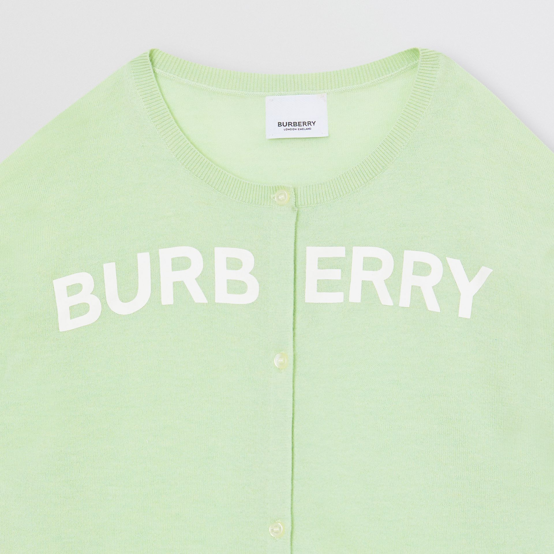Logo Print Cashmere Two-piece Set in Pistachio | Burberry - gallery image 4