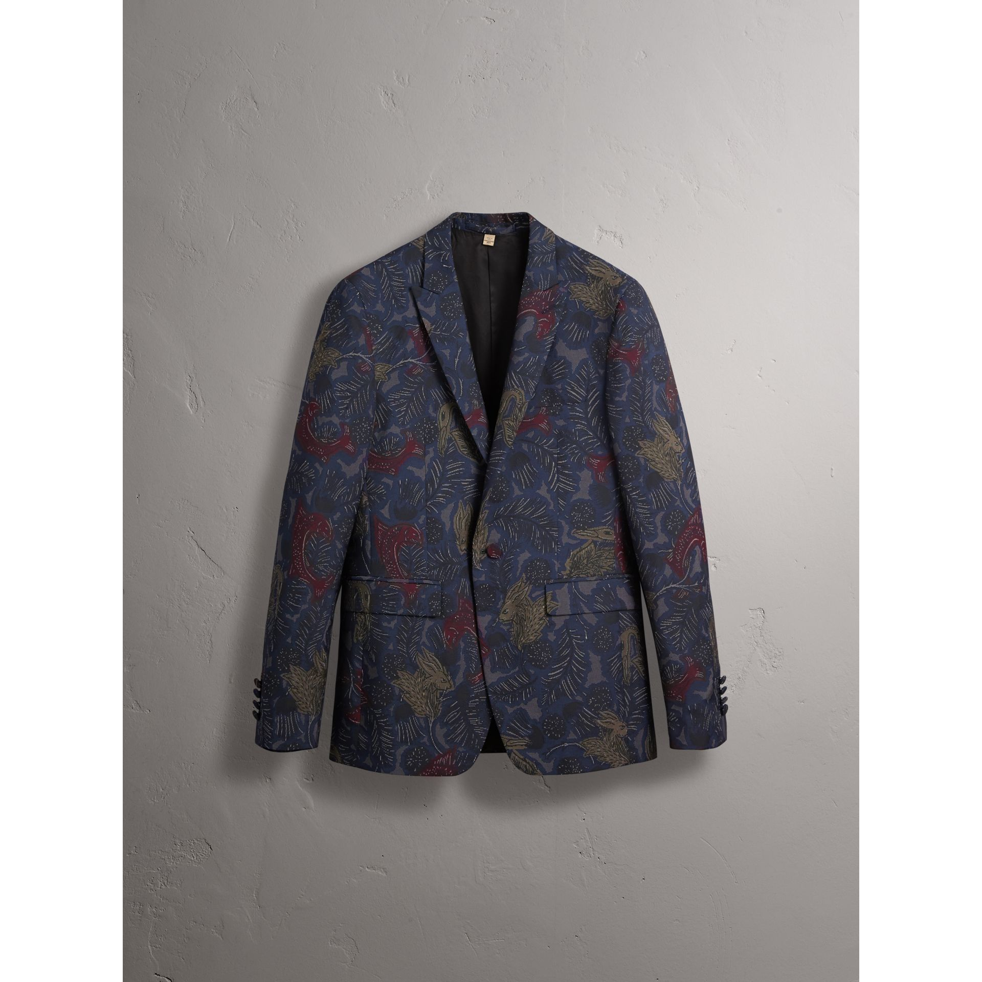 Slim Fit Beasts Technical Silk Jacquard Tailored Jacket in Navy Grey - Men | Burberry - gallery image 4