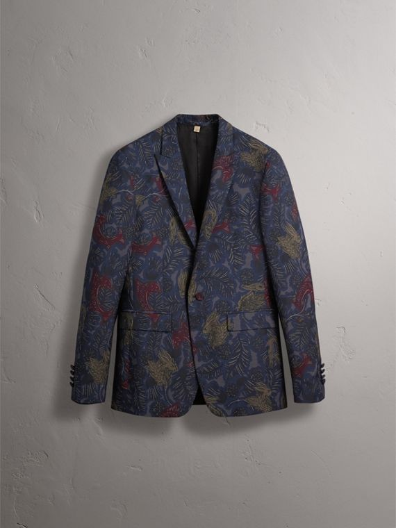 Slim Fit Beasts Technical Silk Jacquard Tailored Jacket - Men | Burberry - cell image 3