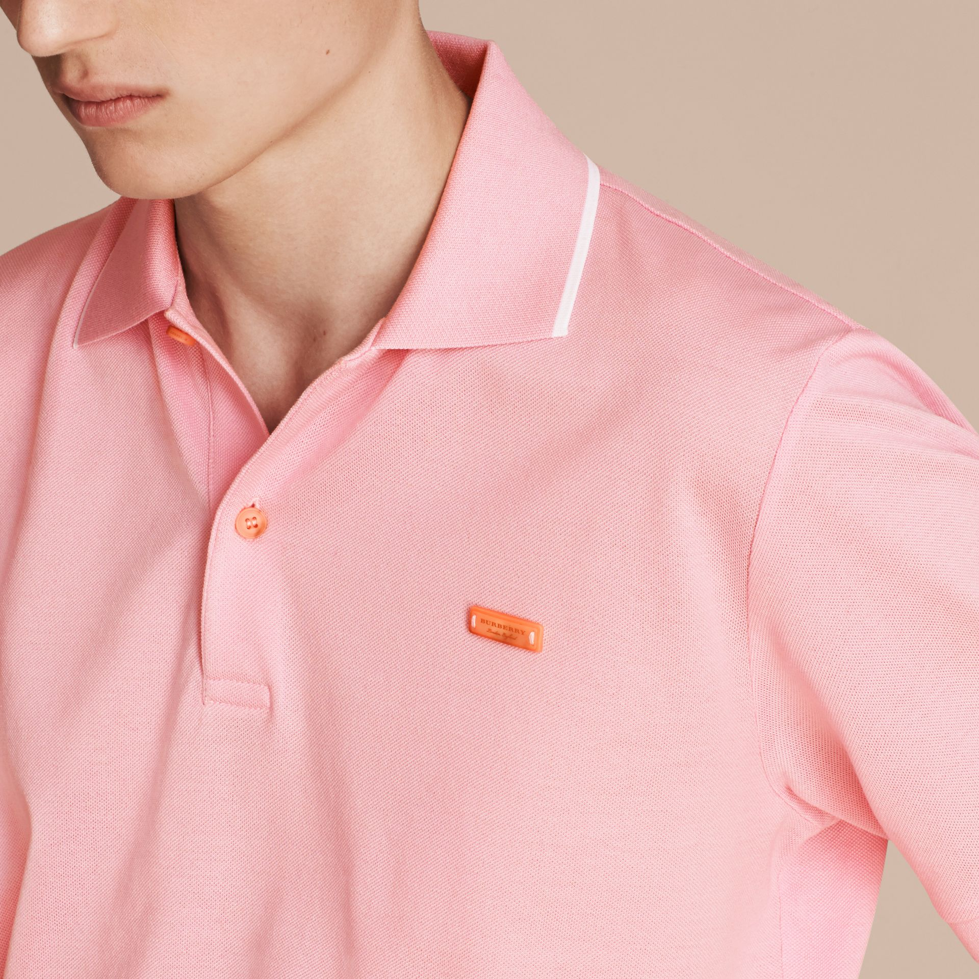 Tipped Collar Cotton Piqué Polo Shirt in Light Pink - gallery image 5