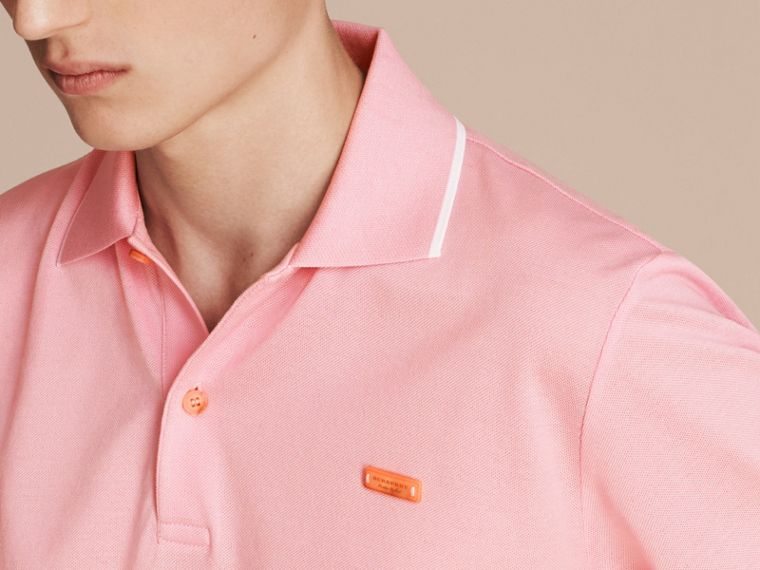 Tipped Collar Cotton Piqué Polo Shirt in Light Pink - cell image 4