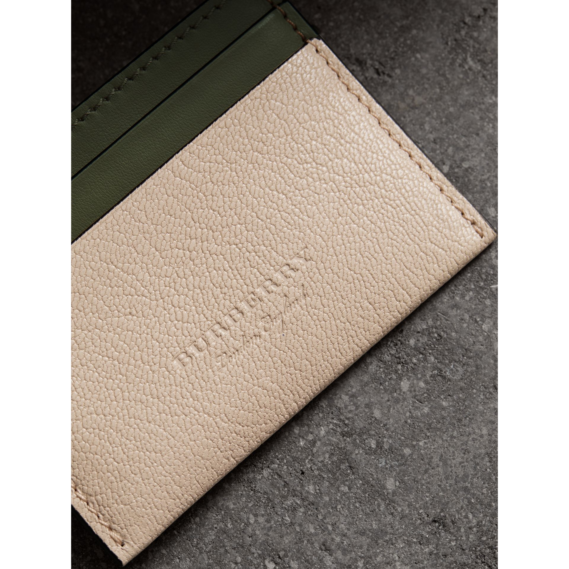 Two-tone Leather Card Case in Stone | Burberry Australia - gallery image 1