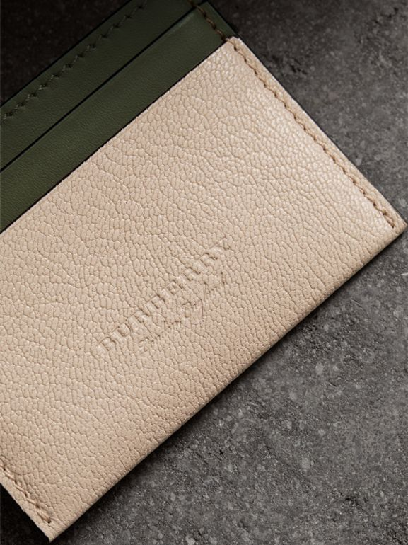 Two-tone Leather Card Case in Stone | Burberry - cell image 1