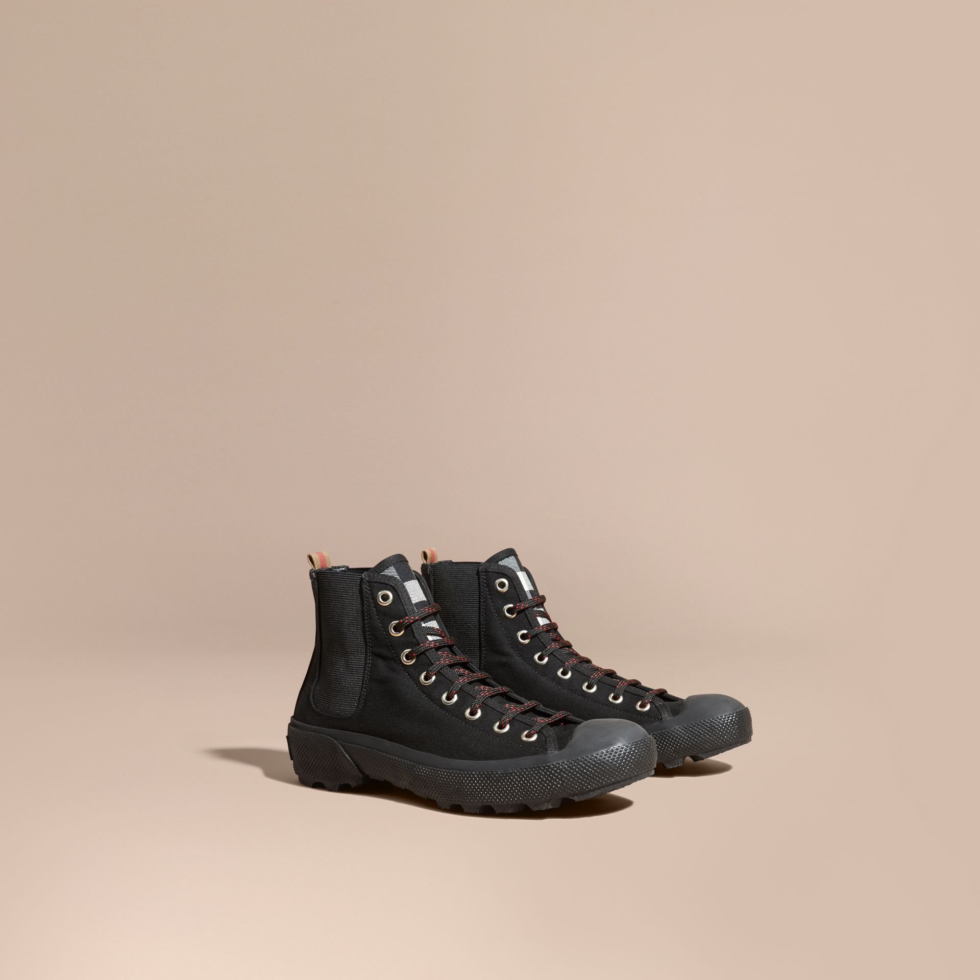 Black Check Detail Technical Cotton and Vulcanised Rubber Boots - gallery image 1