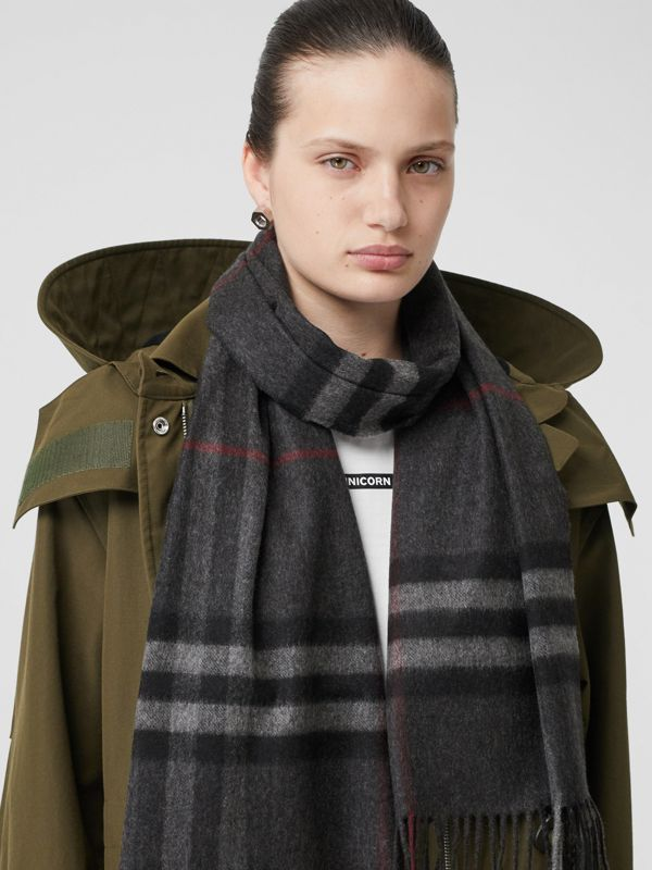The Classic Check Cashmere Scarf in Charcoal | Burberry Australia - cell image 2