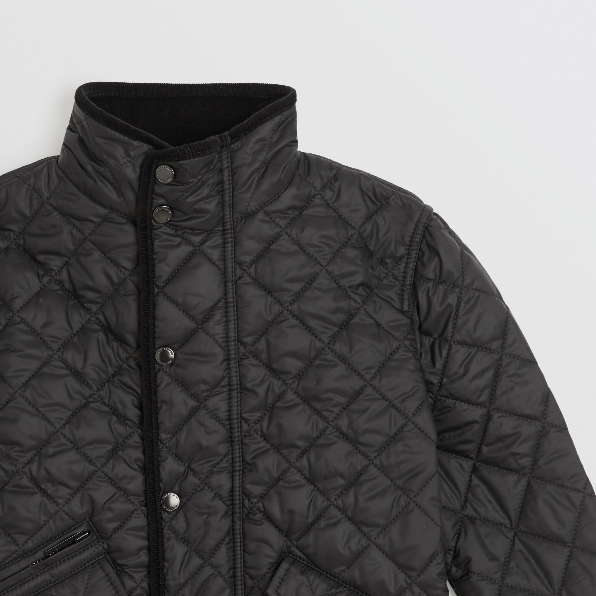 Lightweight Diamond Quilted Jacket in Black | Burberry United States - gallery image 4