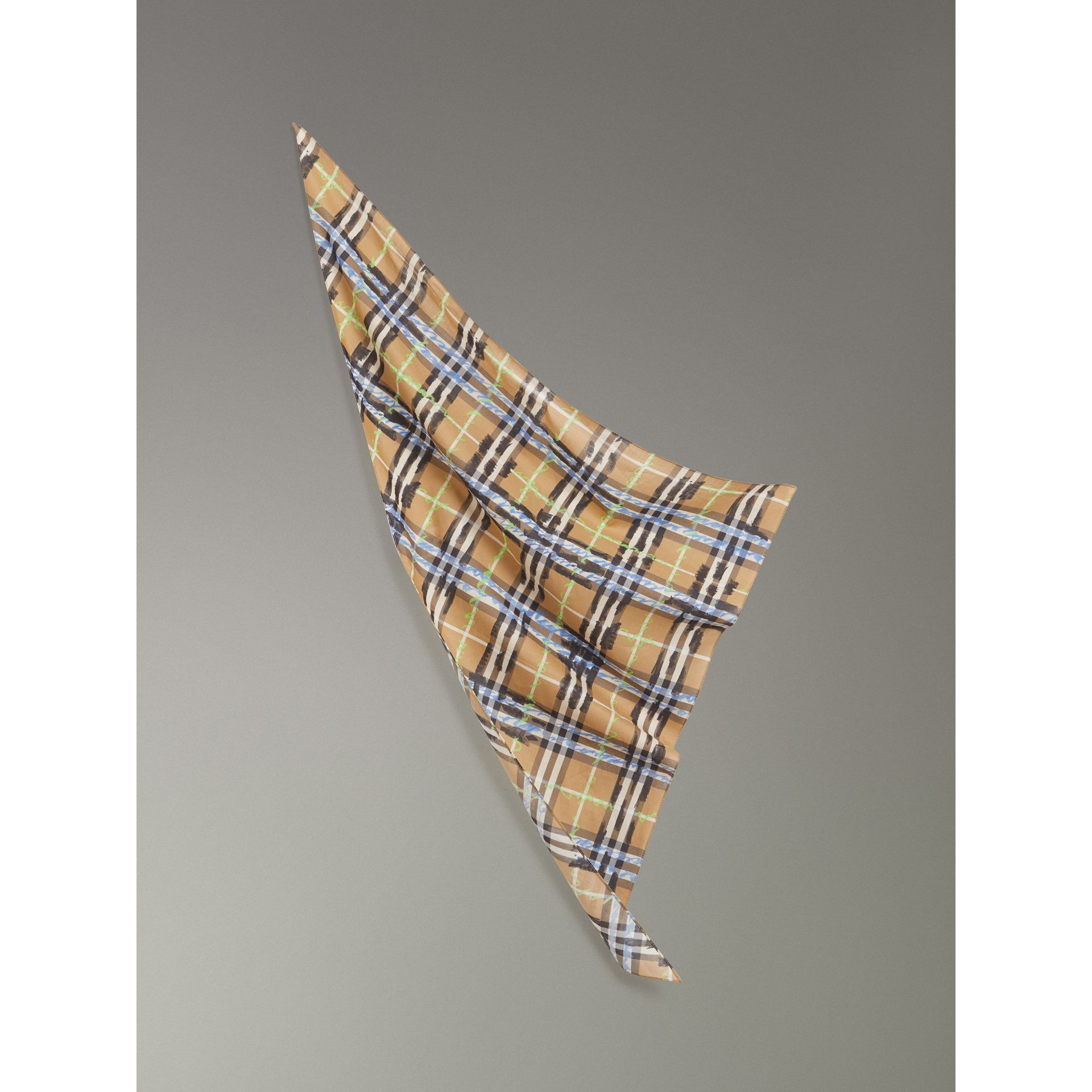 Scribble Check Cotton Scarf in Antique Yellow | Burberry - gallery image 3