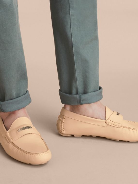 Leather Loafers with Engraved Check Detail Beige - cell image 2