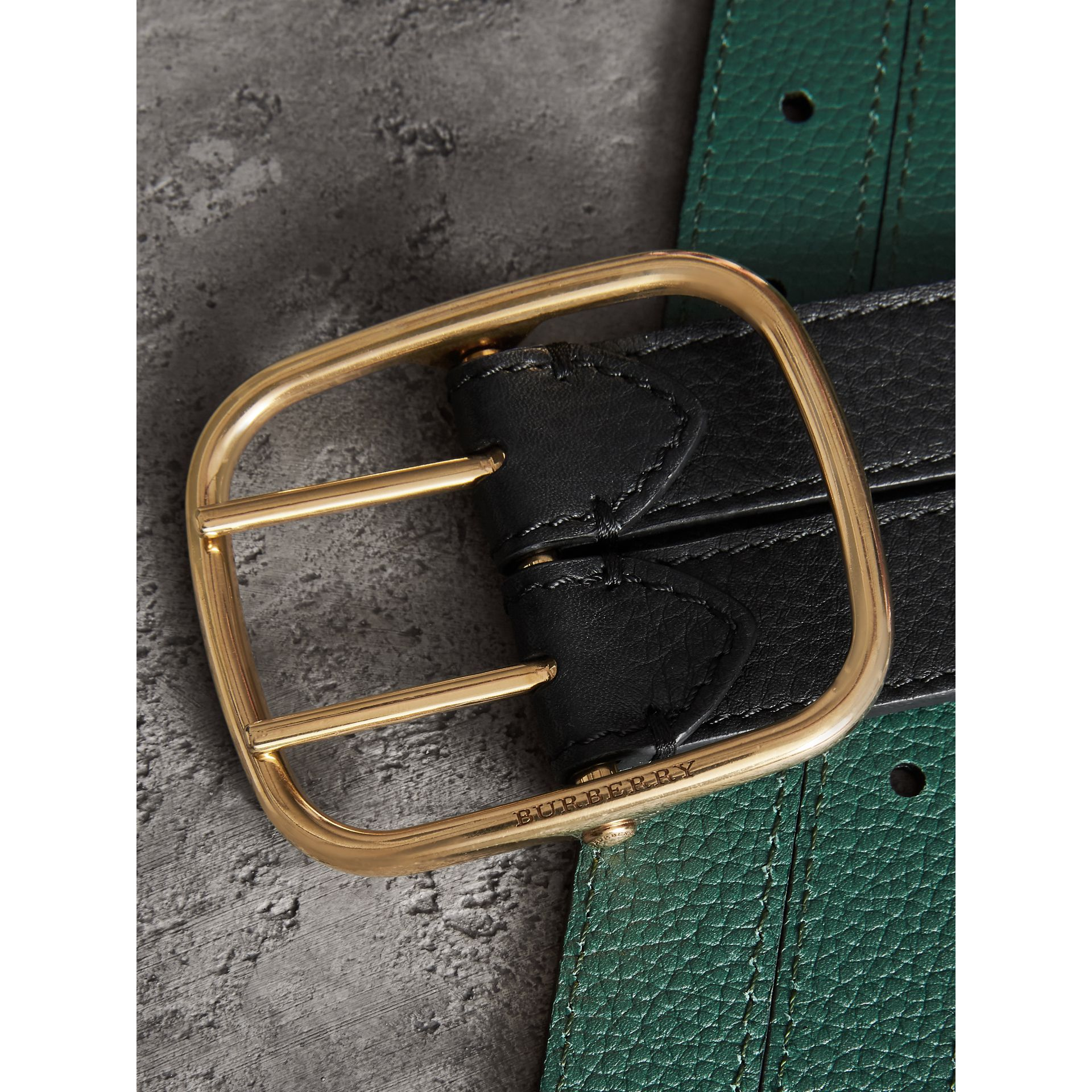 Double-strap Leather Belt in Black/sea Green - Women | Burberry - gallery image 1