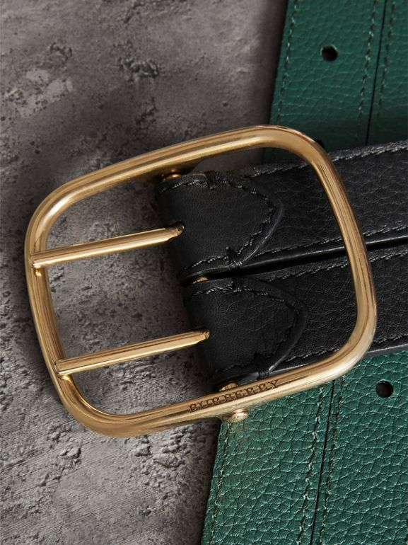 Double-strap Leather Belt in Black/sea Green - Women | Burberry Hong Kong - cell image 1