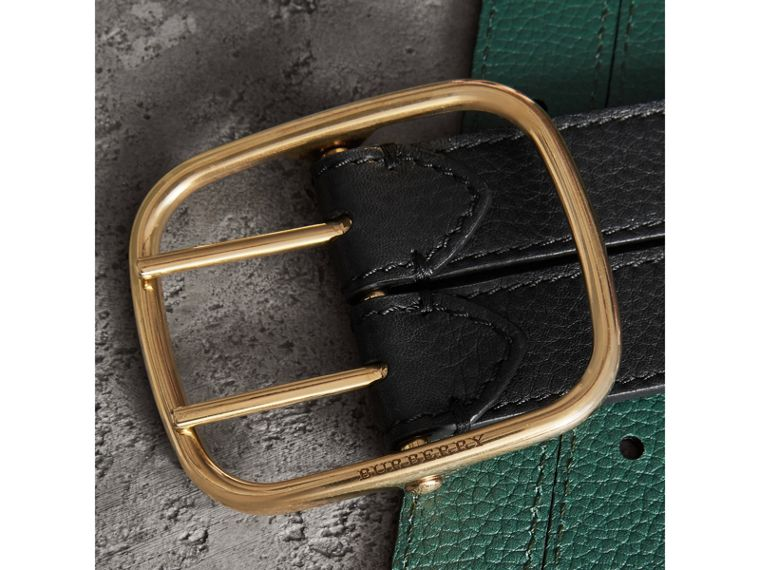 Double-strap Leather Belt in Black/sea Green - Women | Burberry - cell image 1