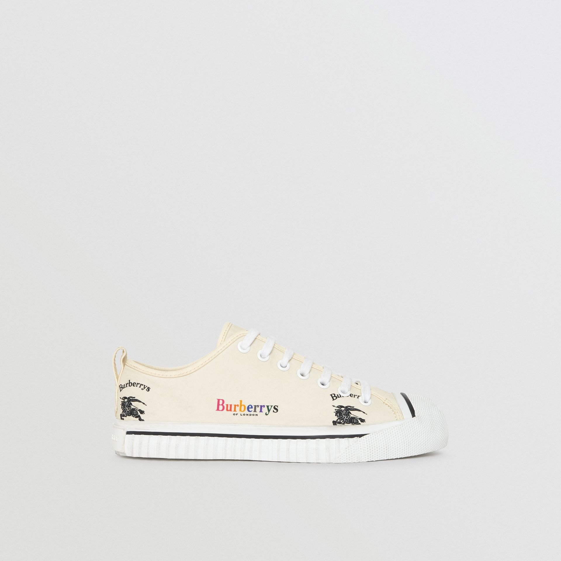Archive Logo Cotton Sneakers in Off White - Women | Burberry - gallery image 5