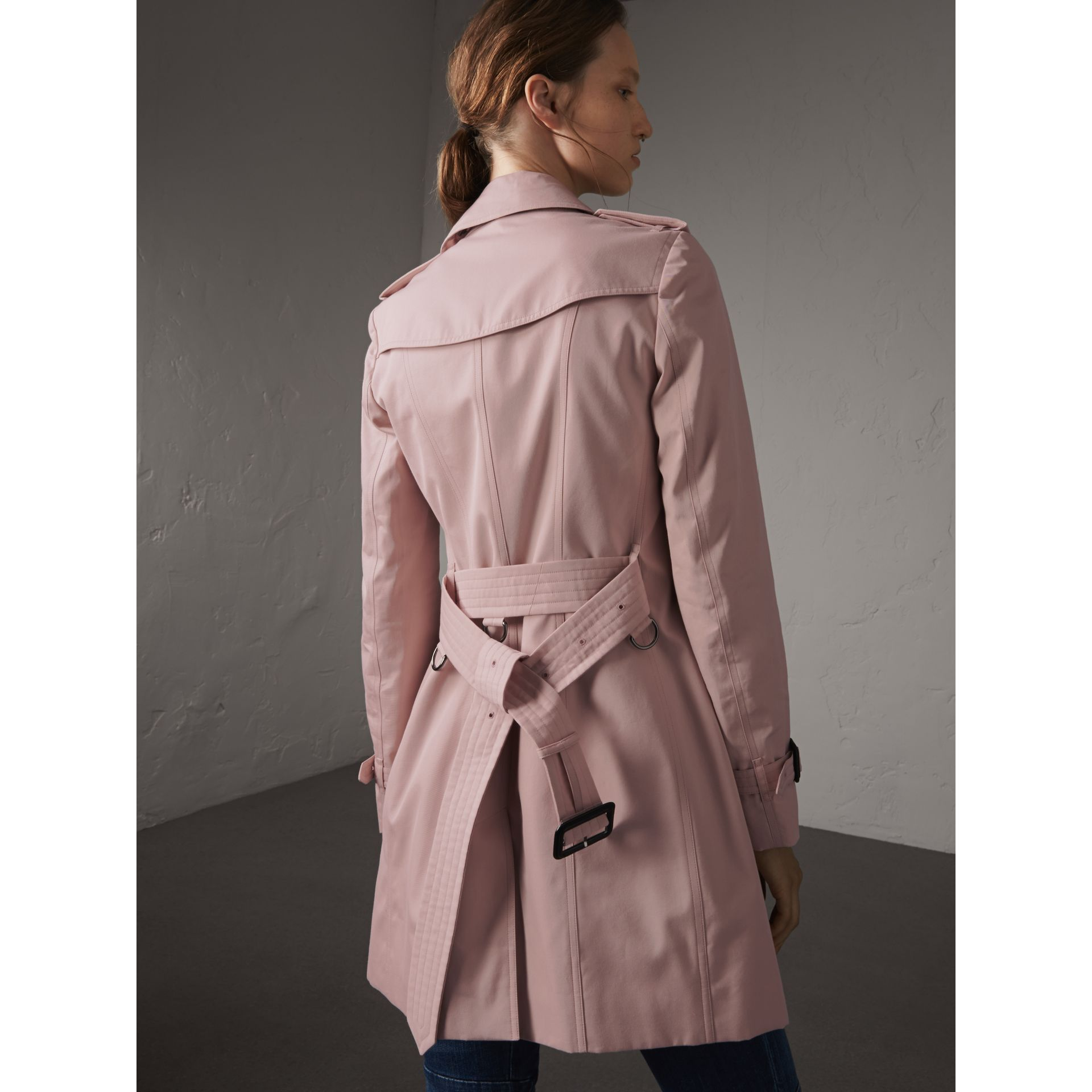 Cotton Gabardine Mid-length Trench Coat in Ice Pink - Women | Burberry Australia - gallery image 3