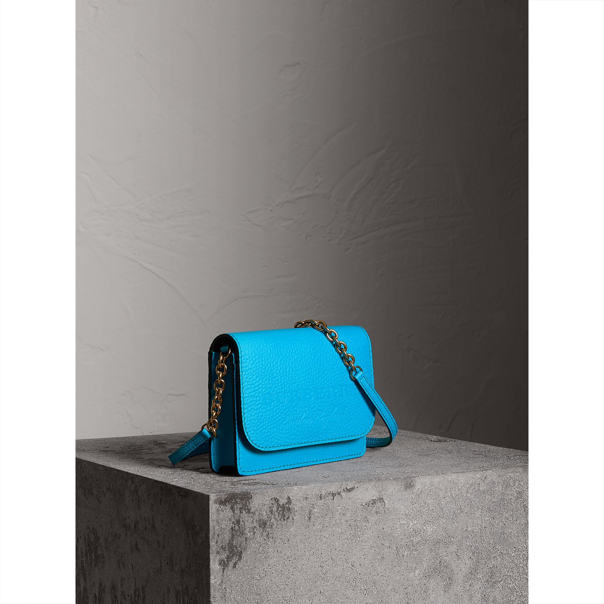 Embossed Leather Wallet with Detachable Strap in Bright Blue - Women | Burberry - gallery image 6