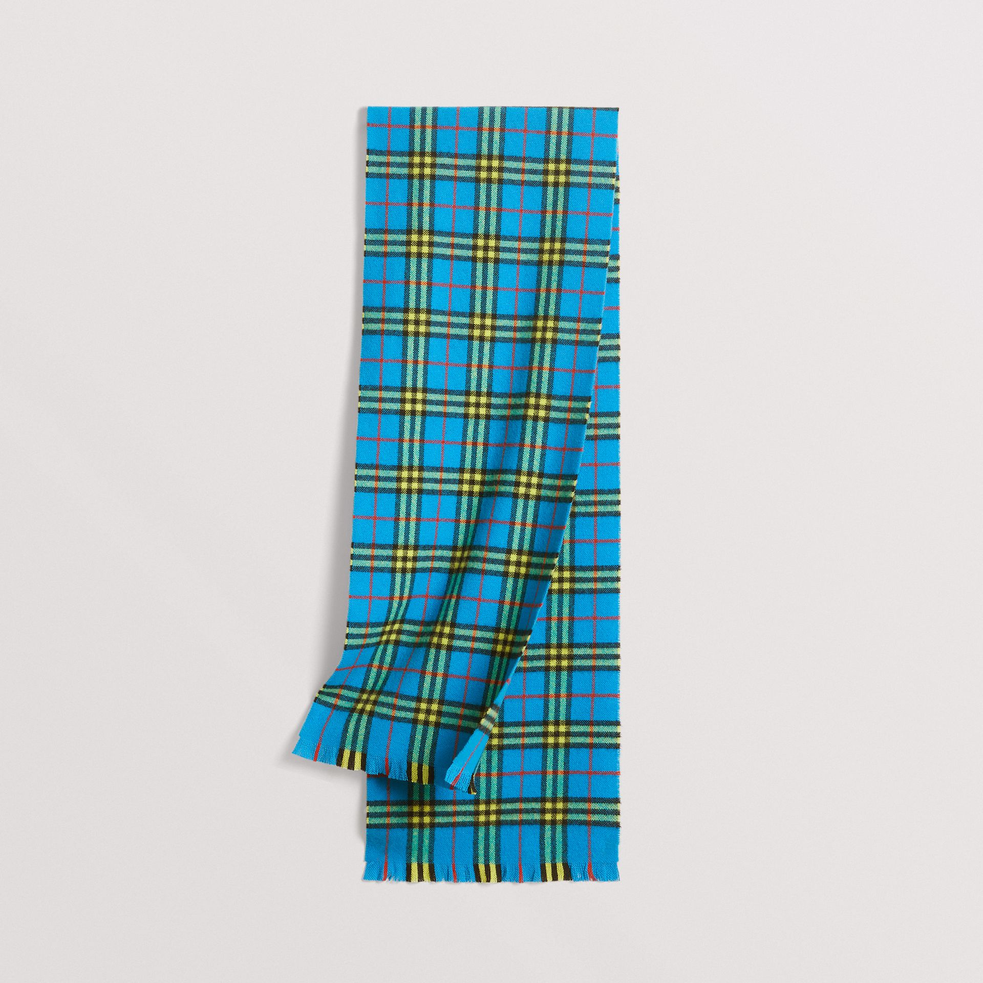 Check Cashmere Scarf in Bright Sky Blue | Burberry - gallery image 0