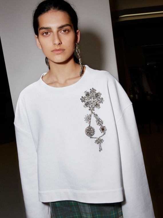 Cropped Sweatshirt with Crystal Brooch in Optic White - Women | Burberry Australia - cell image 2