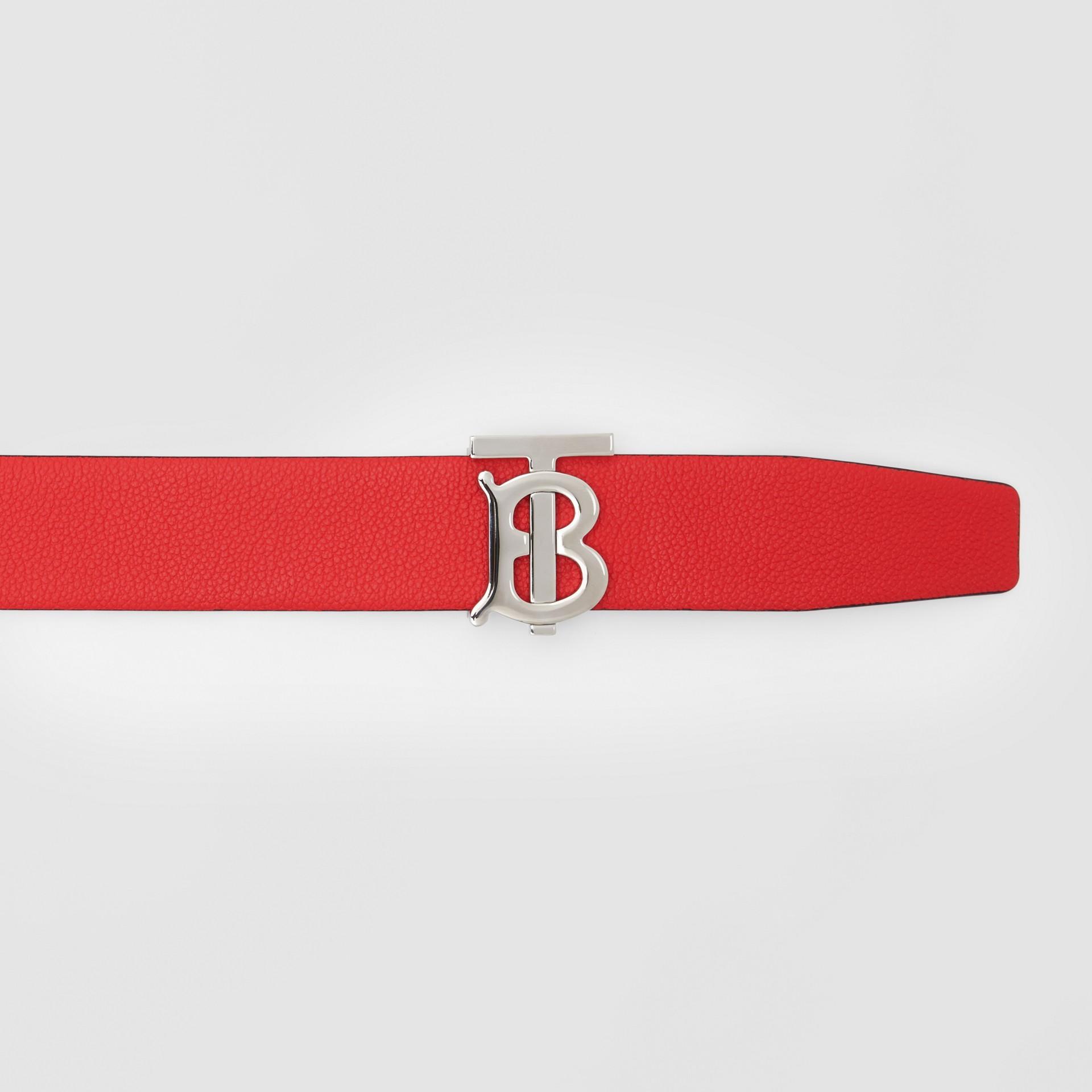 Reversible Monogram Motif Grainy Leather Belt in Military Red/black - Men | Burberry United Kingdom - gallery image 1