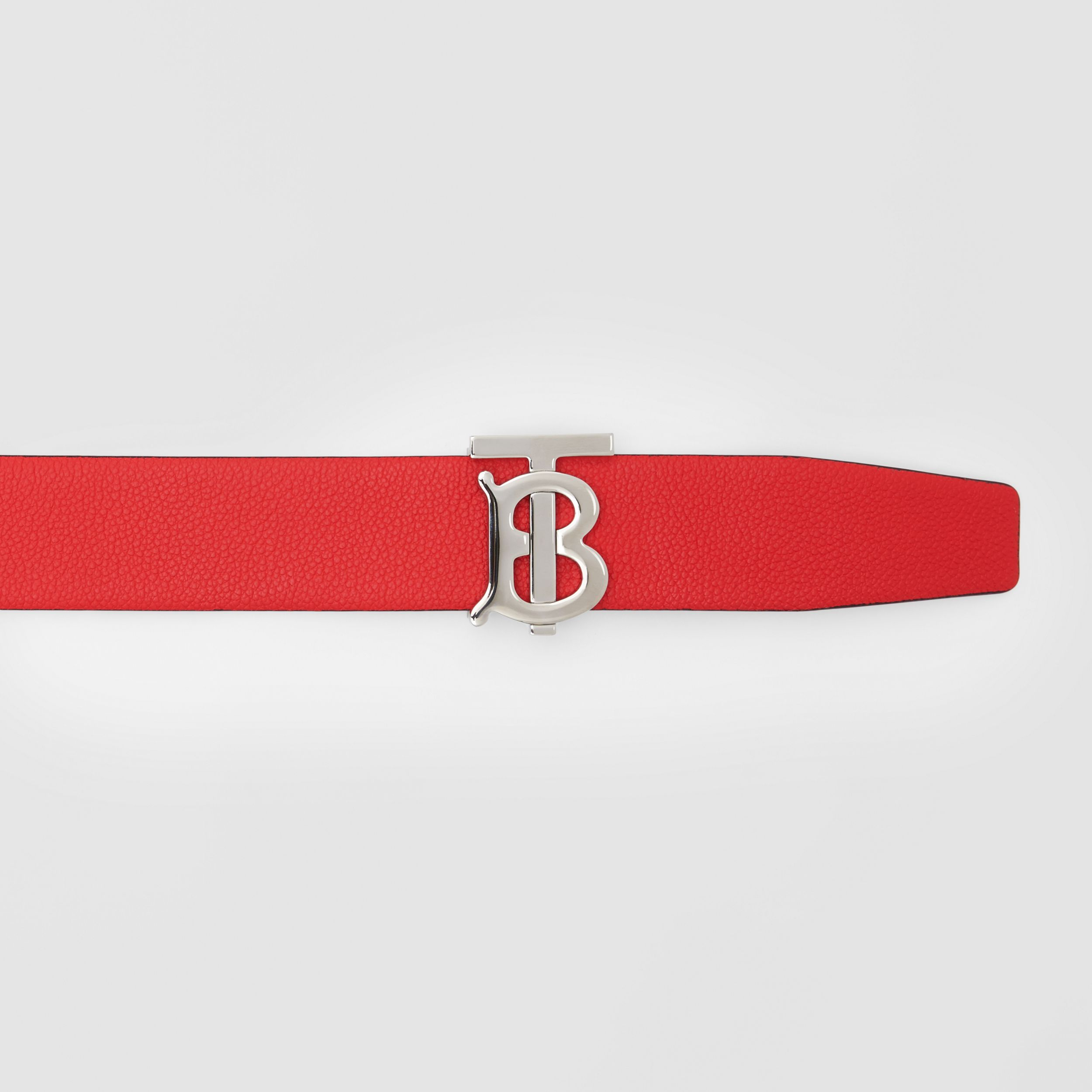 Reversible Monogram Motif Grainy Leather Belt in Military Red/black - Men | Burberry United Kingdom - 2