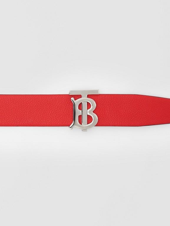 Reversible Monogram Motif Grainy Leather Belt in Military Red/black - Men | Burberry United Kingdom - cell image 1