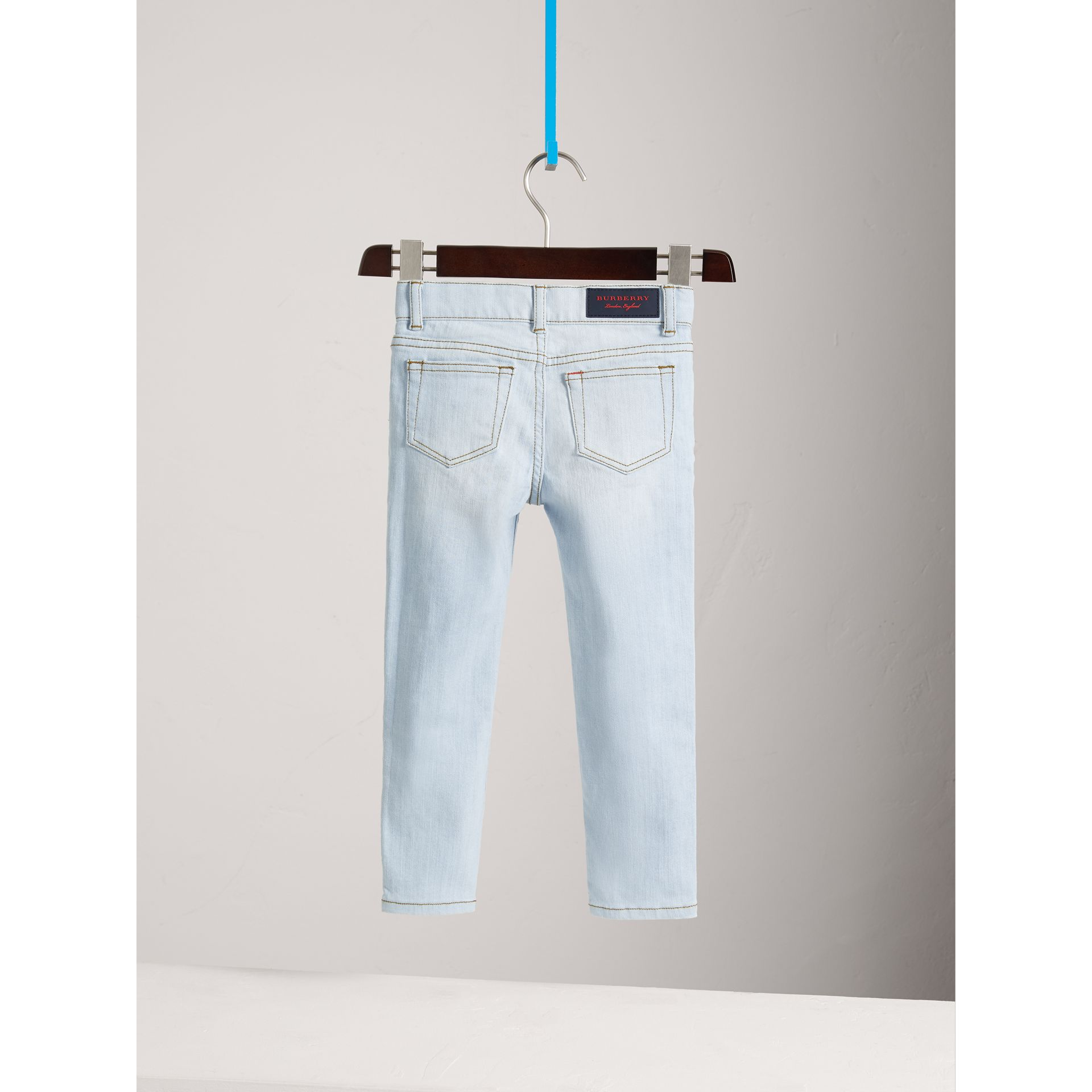 Skinny Fit Stretch Jeans in Light Blue - Boy | Burberry Australia - gallery image 3