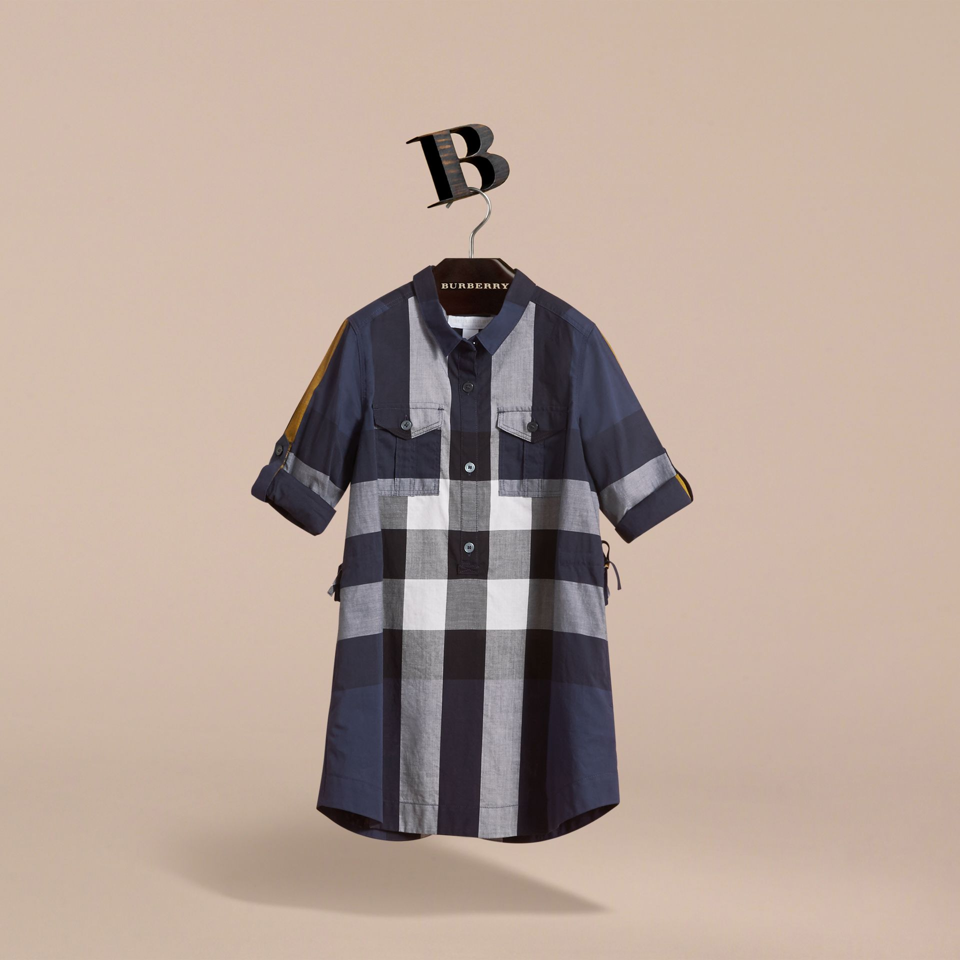 Check Cotton Shirt Dress in Pale Navy - Girl | Burberry Canada - gallery image 3