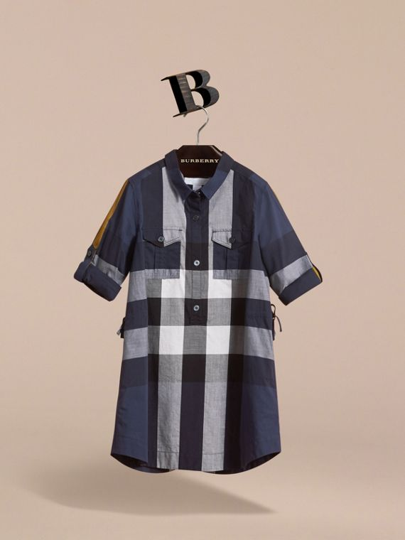 Check Cotton Shirt Dress in Pale Navy - Girl | Burberry - cell image 2