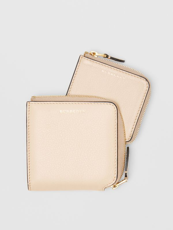 Grainy Leather Square Ziparound Wallet in Limestone - Women | Burberry Australia - cell image 3