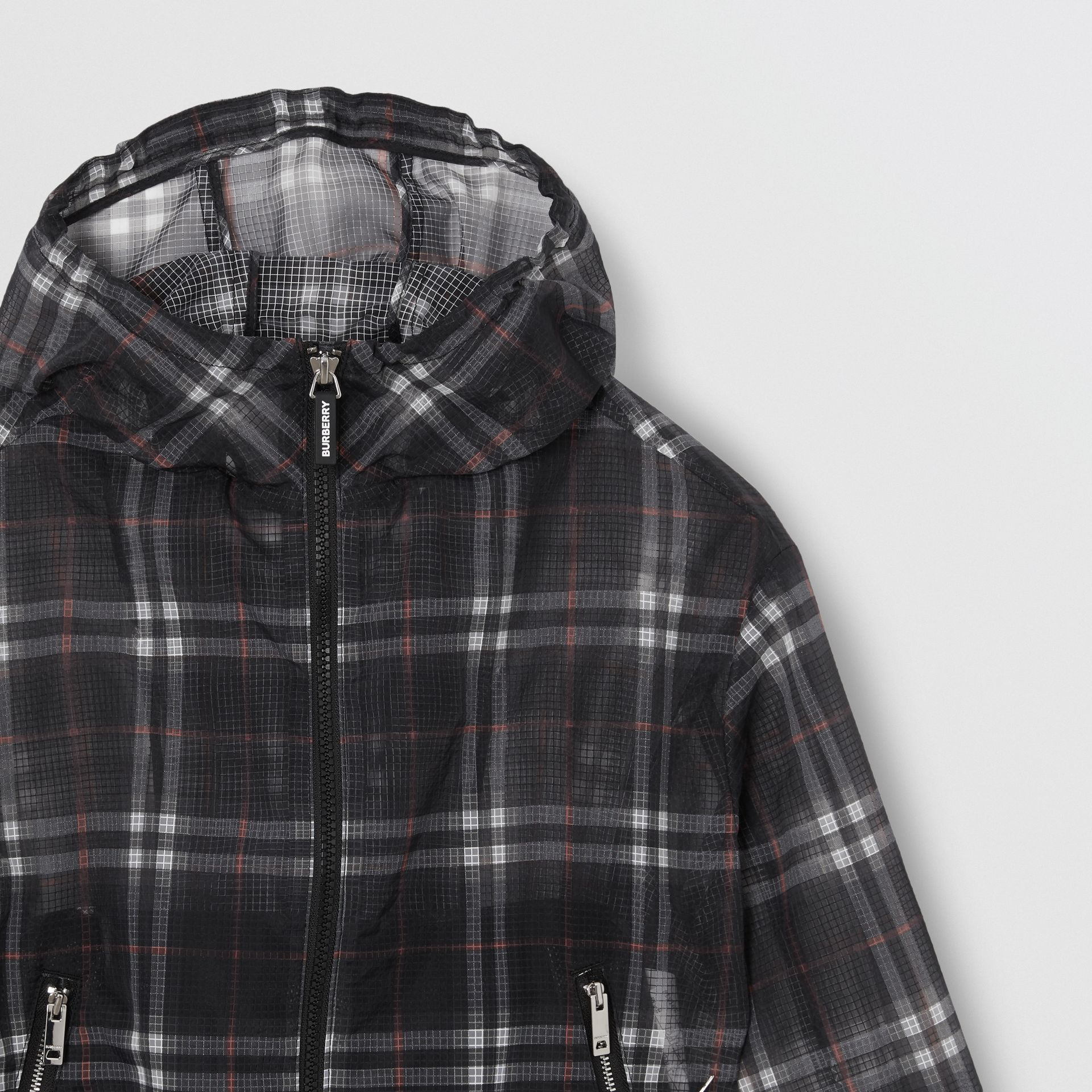 Vintage Check Nylon Hooded Jacket in Black | Burberry - gallery image 4