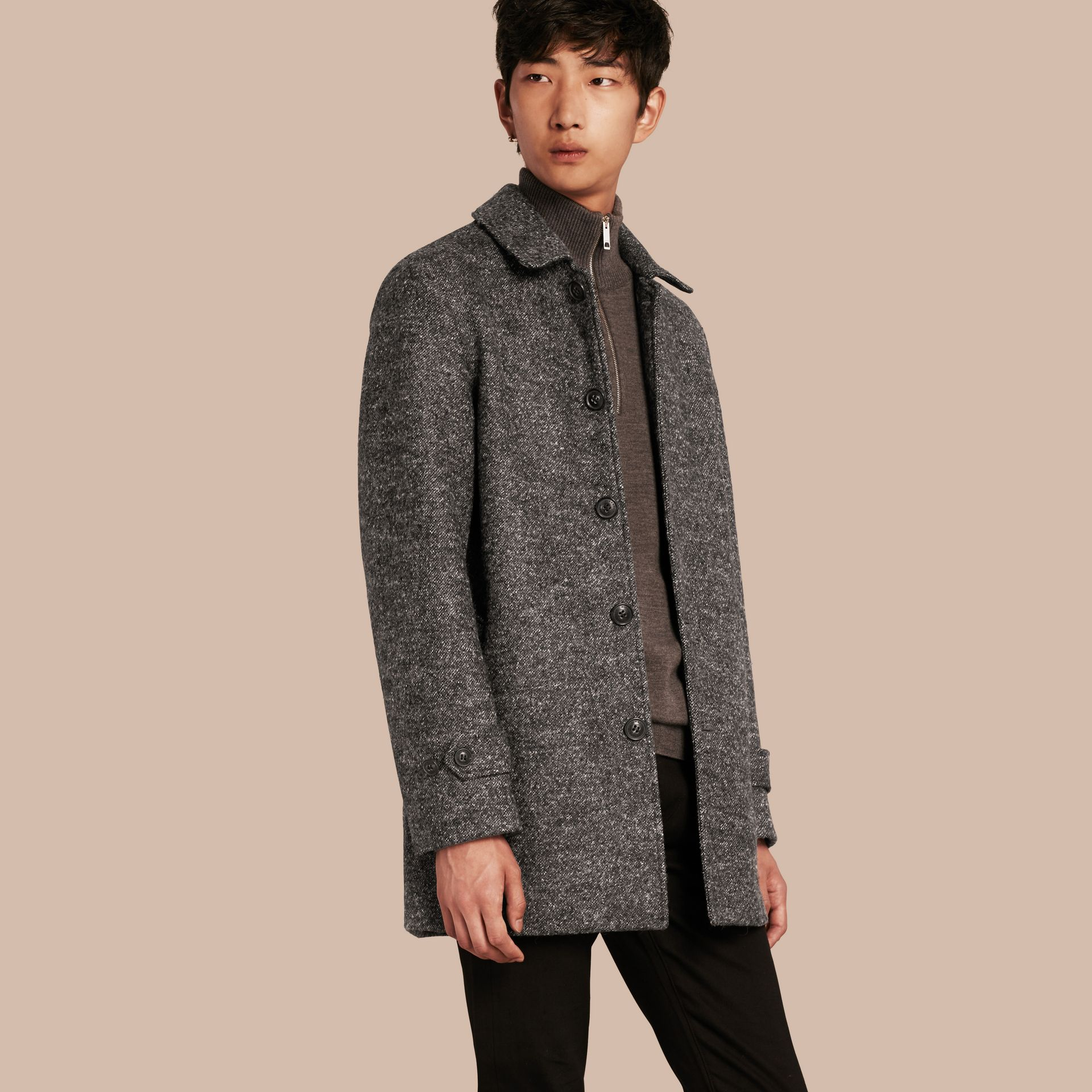 Mid grey melange Brushed Melange Wool Car Coat - gallery image 1