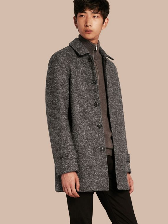 Brushed Melange Wool Car Coat