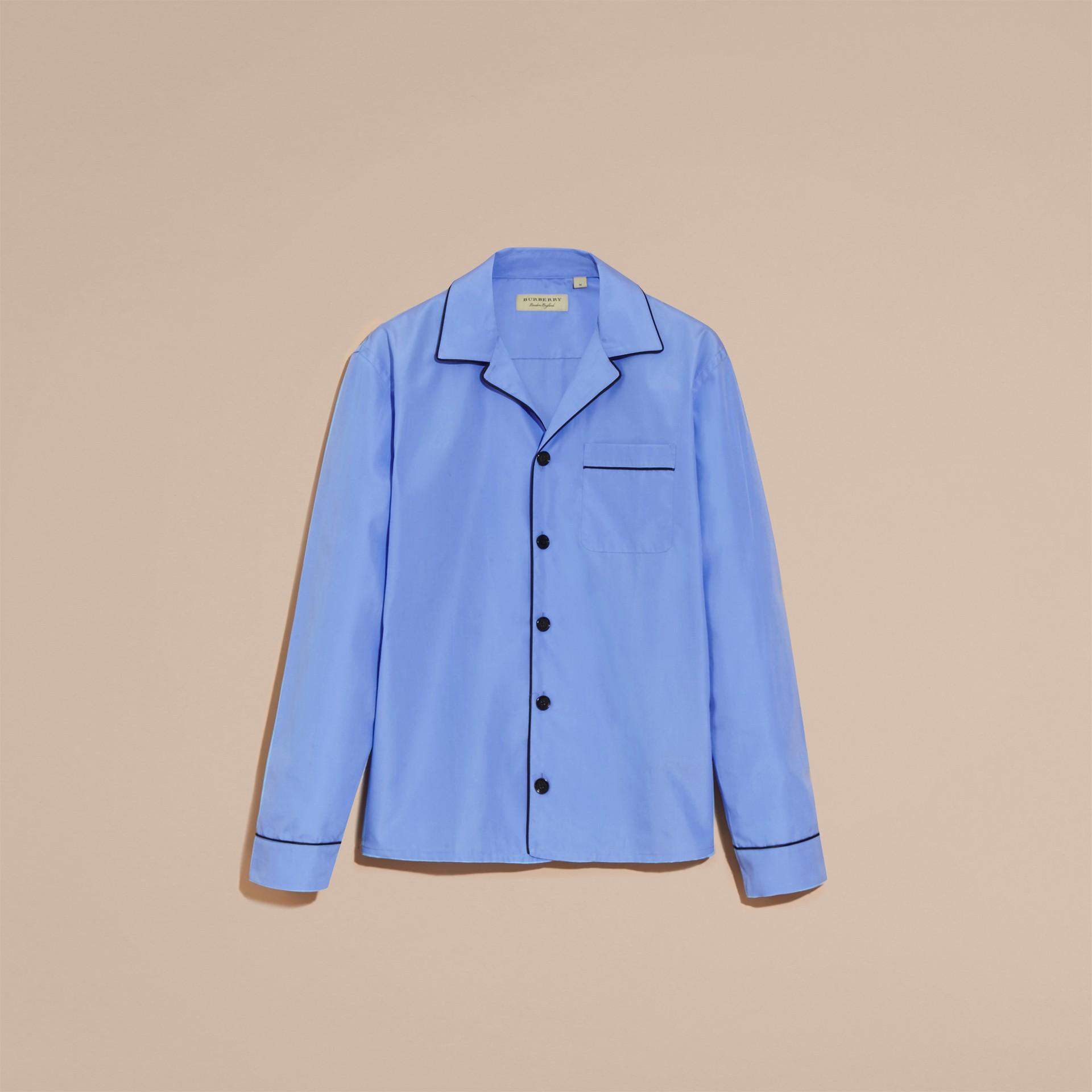 Mid blue Cotton Poplin Pyjama-style Shirt - gallery image 4