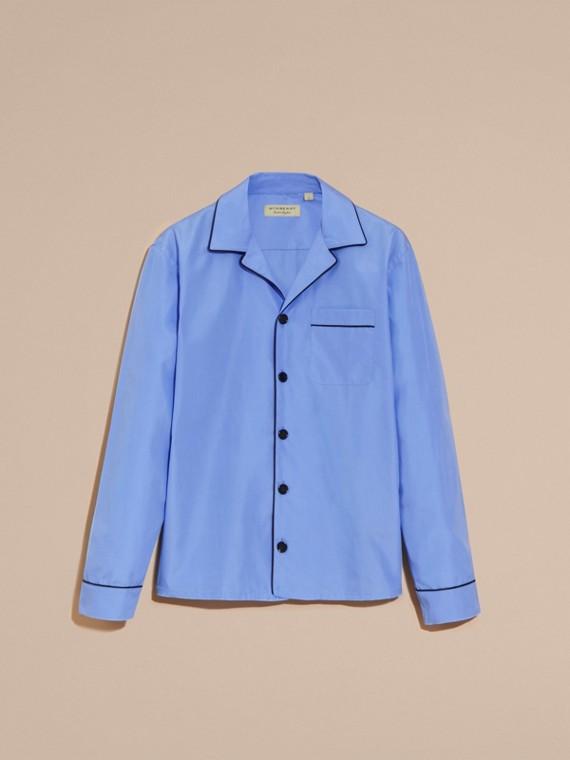 Mid blue Cotton Poplin Pyjama-style Shirt - cell image 3