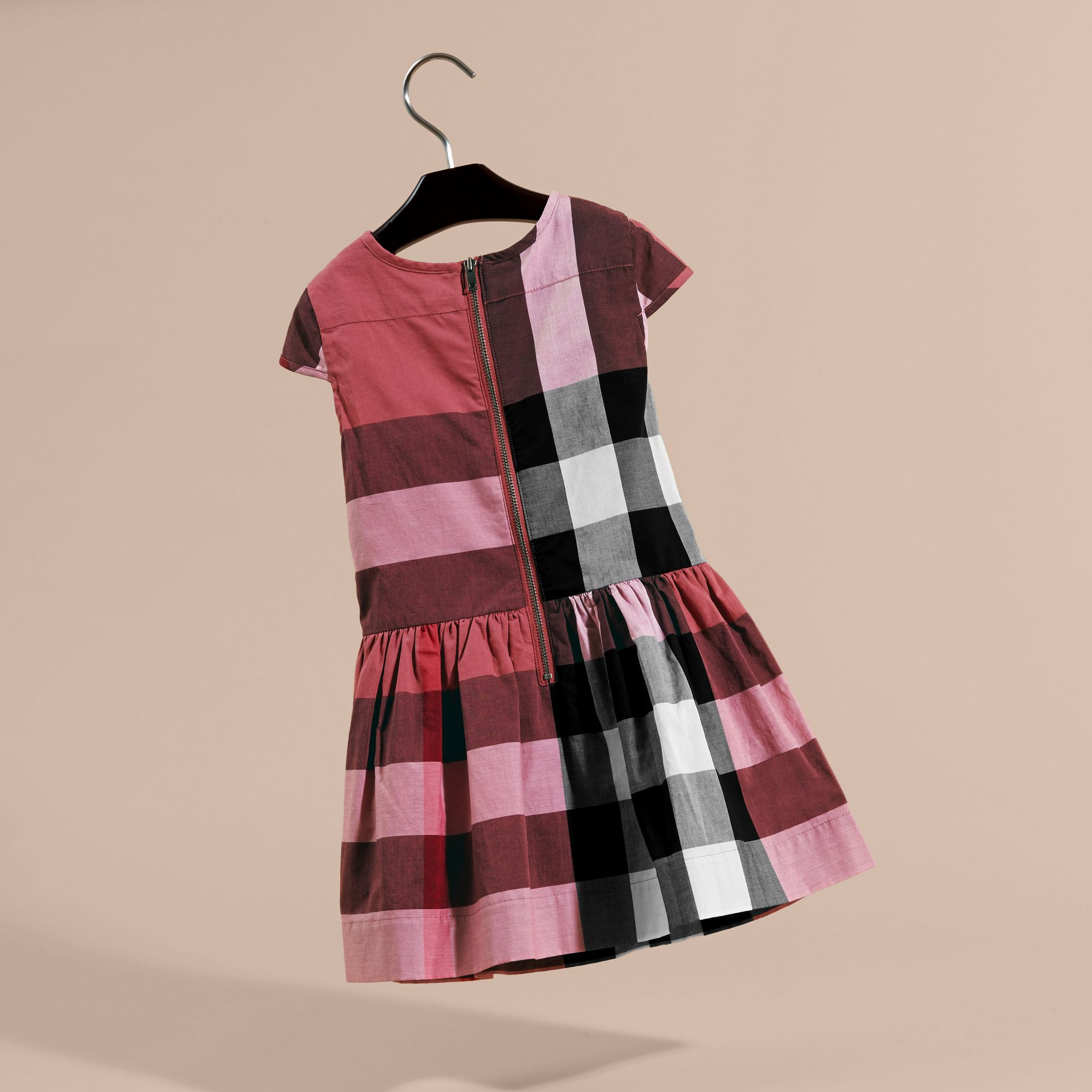 Cap-sleeved Check Cotton Voile Dress Pink Azalea - gallery image 4