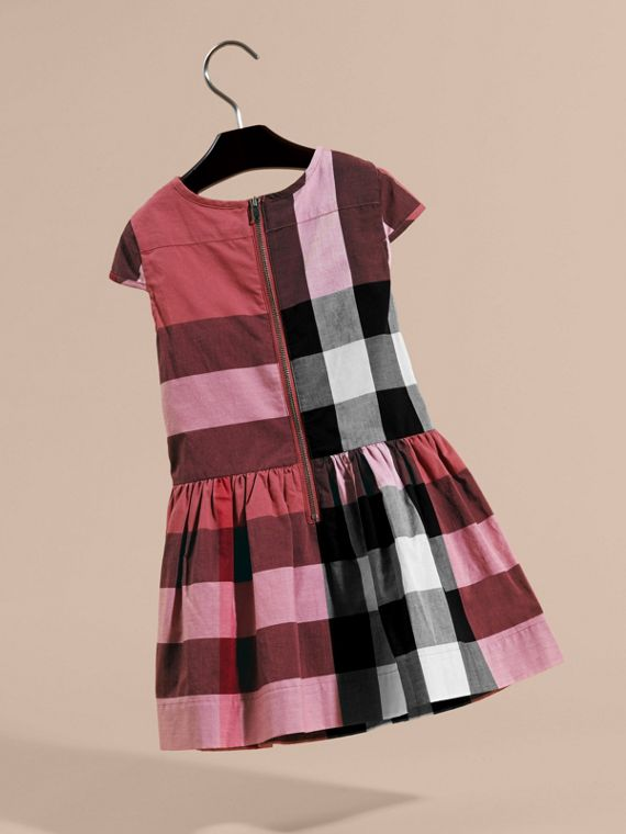 Cap-sleeved Check Cotton Voile Dress in Pink Azalea - cell image 3