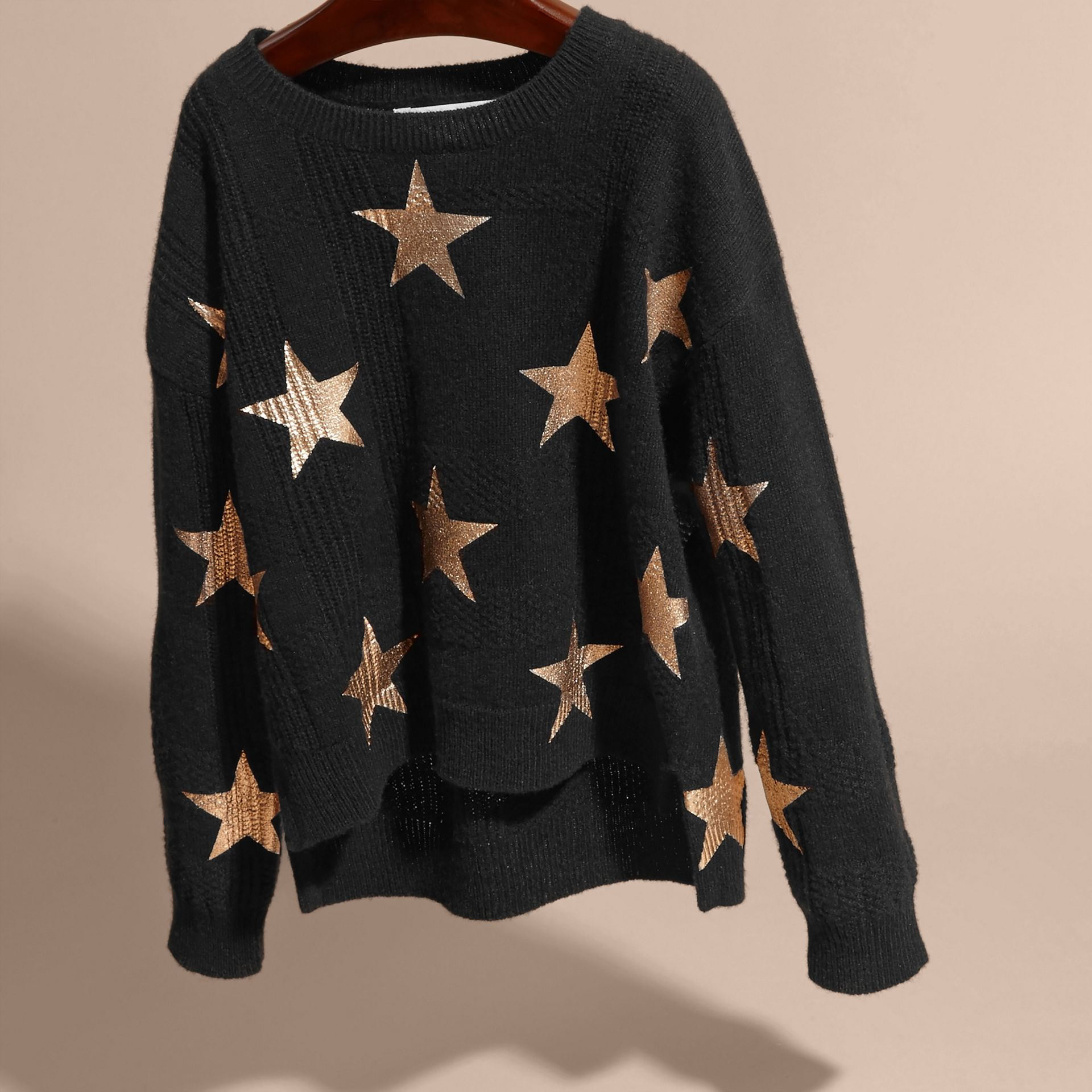 Black Star Print Textured Check Cashmere Sweater - gallery image 3