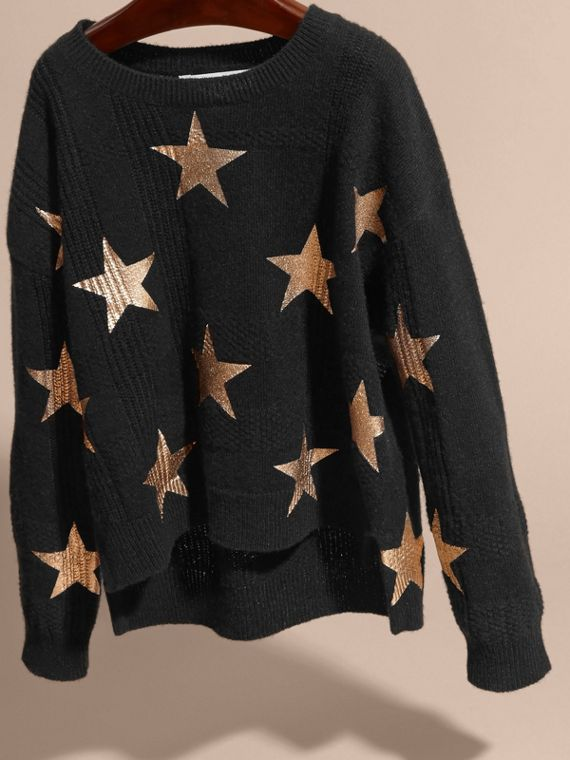 Black Star Print Textured Check Cashmere Sweater - cell image 2