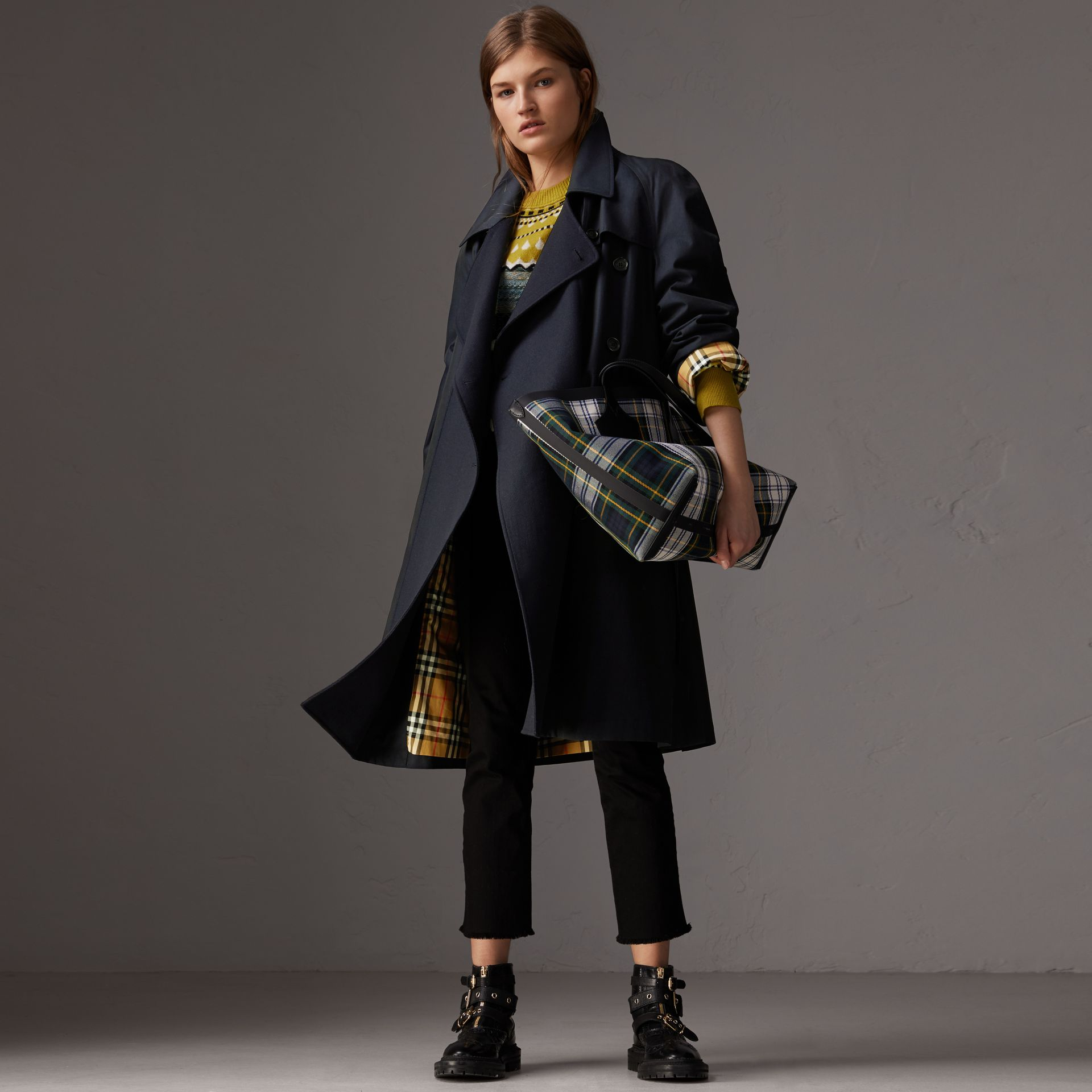 Tropical Gabardine Asymmetric Trench Coat in Blue Carbon - Women | Burberry United Kingdom - gallery image 0