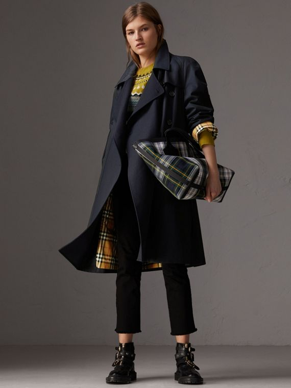 Tropical Gabardine Asymmetric Trench Coat in Blue Carbon