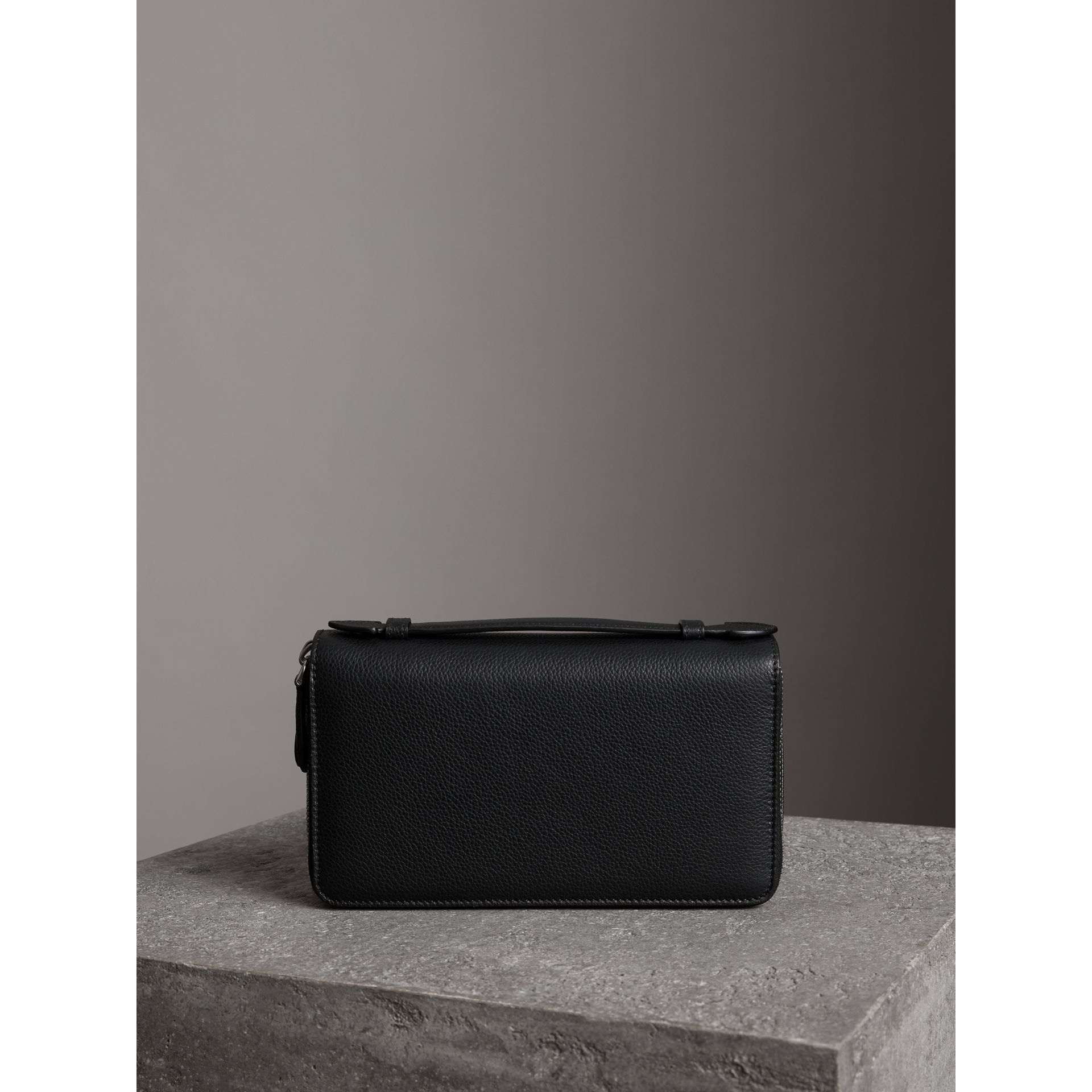 Grainy Leather Travel Wallet in Black - Men | Burberry Australia - gallery image 5
