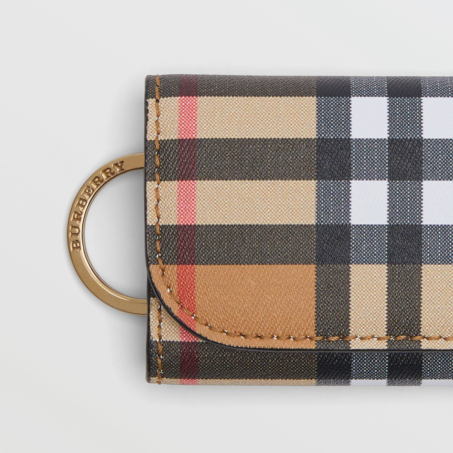 Vintage Check and Leather Key Case in Black - Women | Burberry - gallery image 1