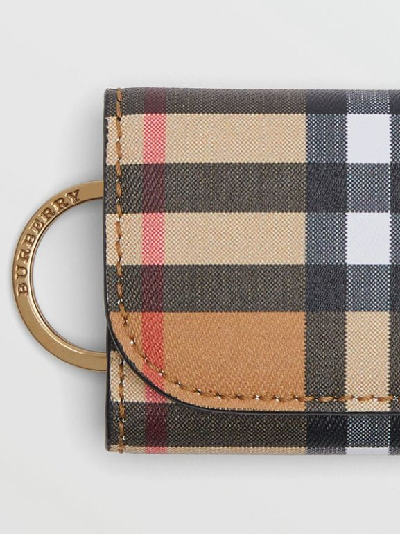 Vintage Check and Leather Key Case in Black - Women | Burberry United Kingdom - cell image 1