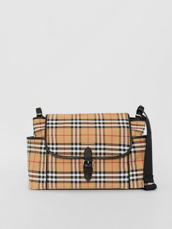 Vintage Check Baby Changing Shoulder Bag in Antique Yellow/black