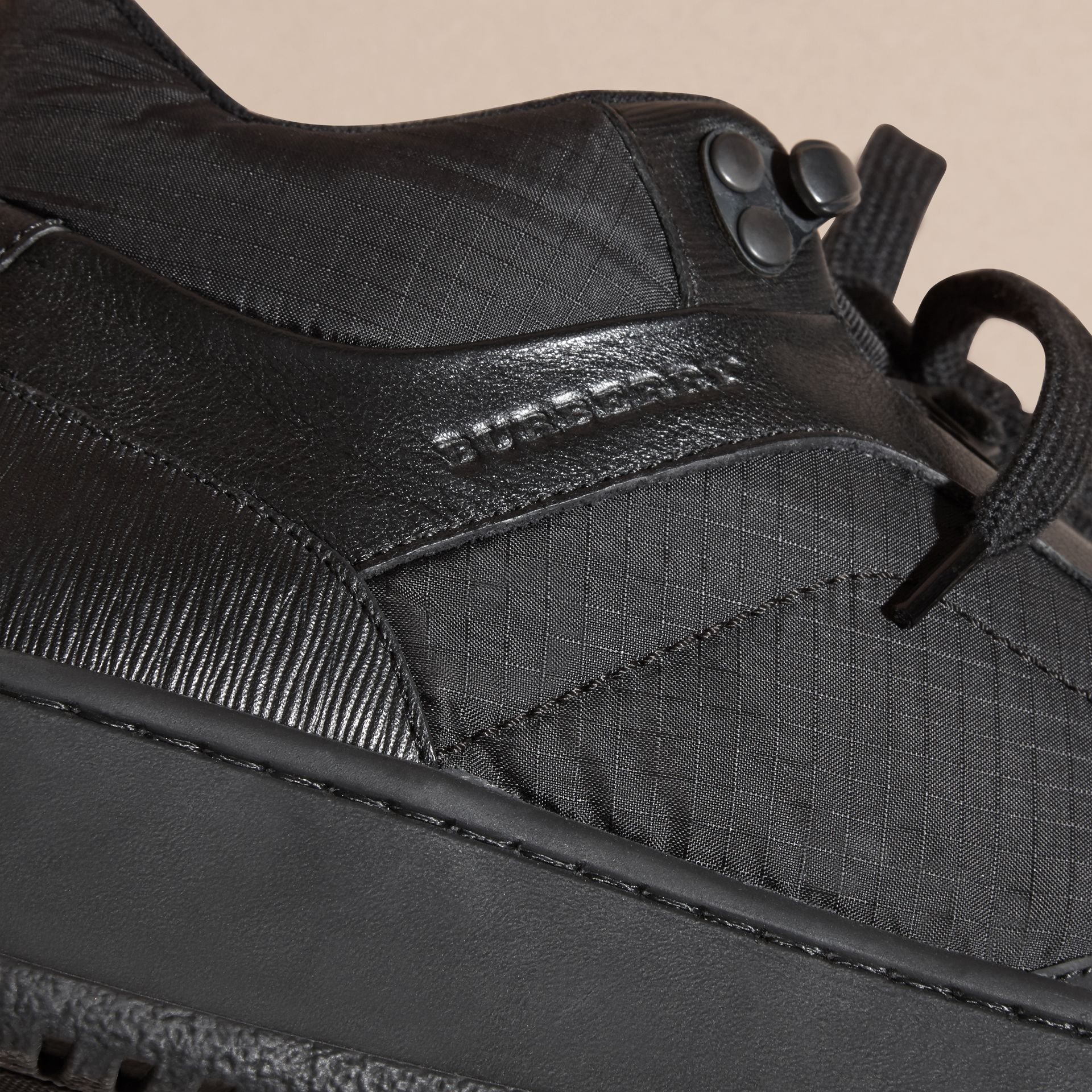 Black Ripstop and Leather Trainers - gallery image 2