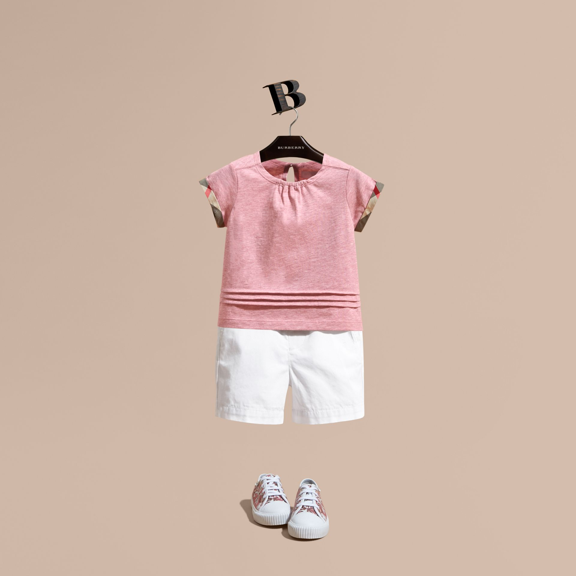 Pleat and Check Detail Cotton T-shirt in Light Copper Pink Melange | Burberry - gallery image 1