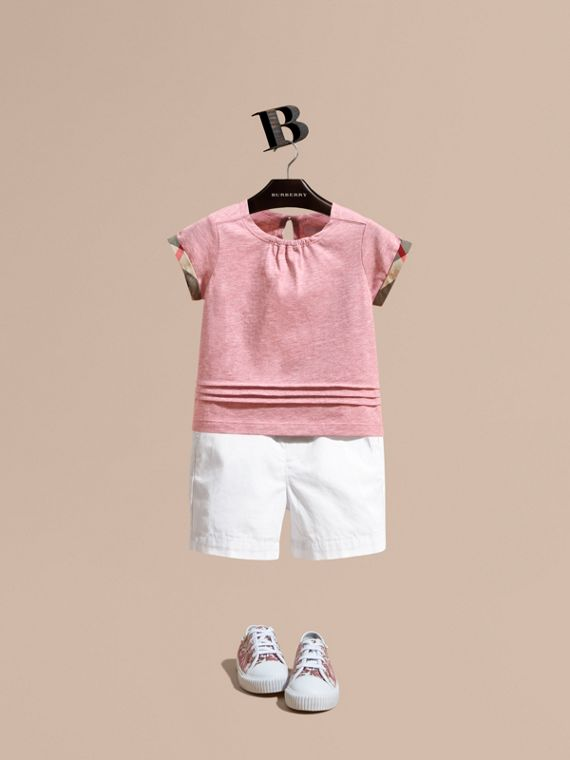 Pleat and Check Detail Cotton T-shirt in Light Copper Pink Melange