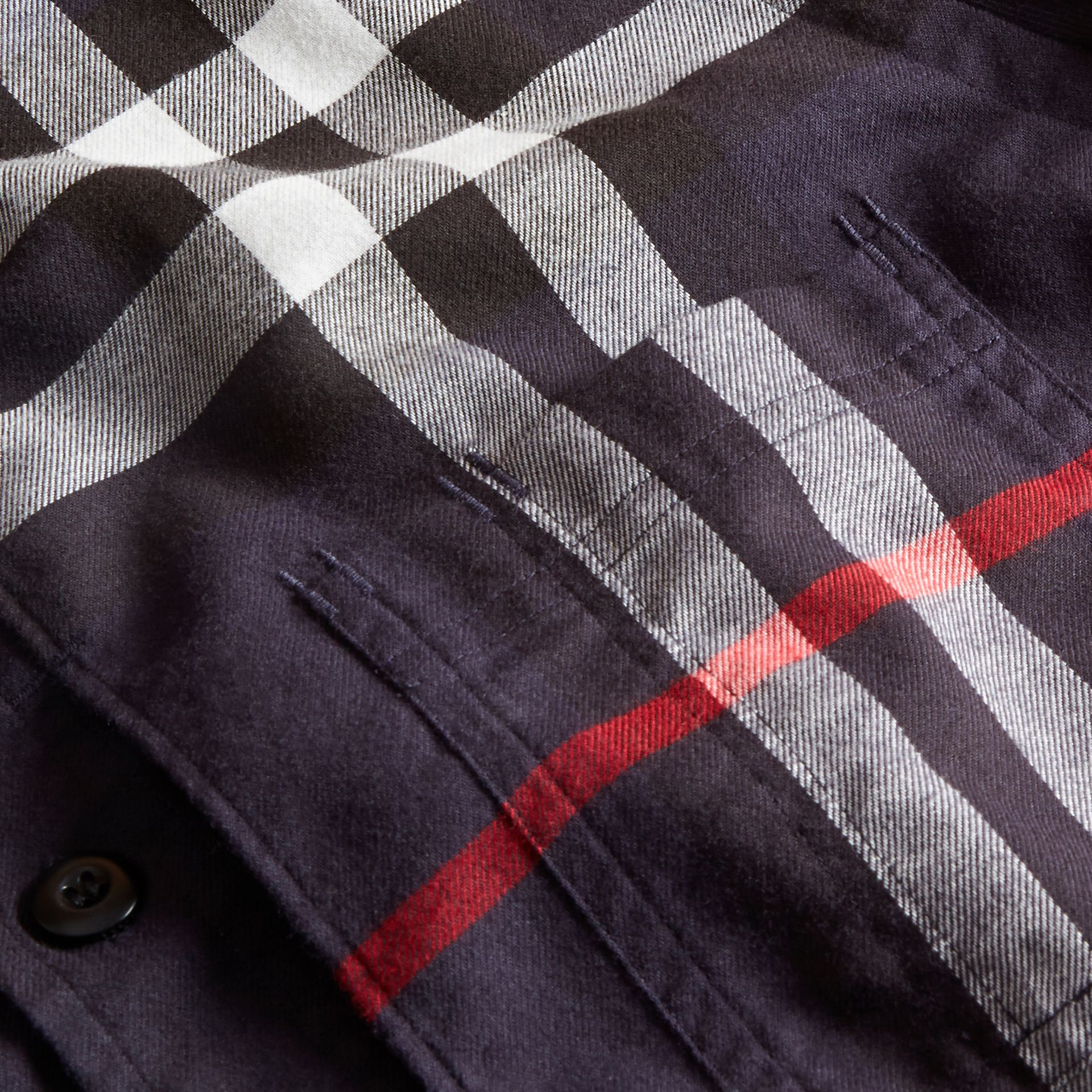 Navy Check Detail Cotton Flannel Shirt Navy - gallery image 2